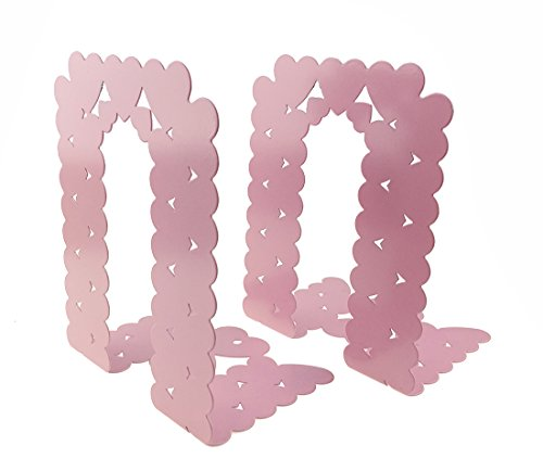 A Pair Of Love Heart Shape Pattern Nonskid Metal Bookends For Kids Children Bedroom Library School Office Desk Study Gift (Pink) by UniGift