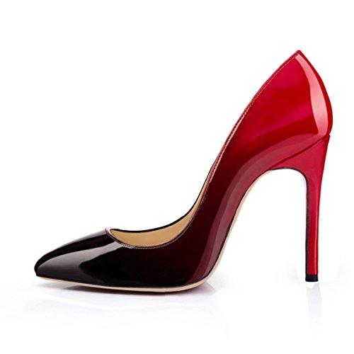 Onlymaker Damen Pumps Stiletto High Heels Sptize Zehenkappe Komfort Casual Bunte Fashion Lady Rot EU46