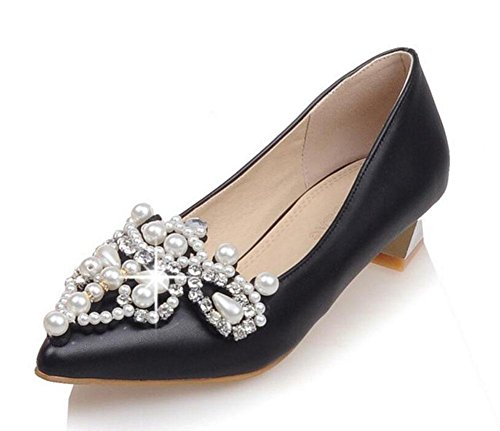 Perle Breve décolleté lusso Closed di con Shoes tallone Women 's Black Toe strass sandali znwvP