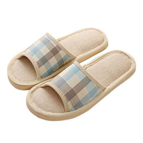 Slipper Fogun De Lin Hommes Femmes pour De D'été Maison Striped Plancher Linen Chaussures Sandales De wrfrIZqg8