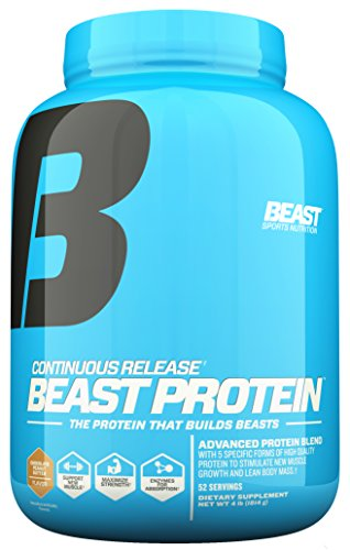 Beast Sports Nutrition Beast Protein 25 Grams of High-Quality Protein- 5 Protein Sources for Lean Muscle including Whey Concentrate and Isolate. Low Fat Low Carb. 4lb, 52 Svgs, Chocolate Peanut Butter