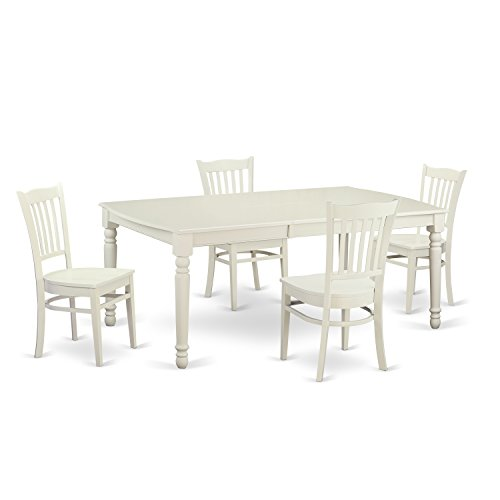 East West Furniture DOGR5-LWH-W 5 Piece Dining and 4 Dinette Chairs Small Kitchen Table