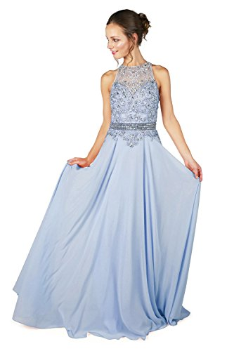 ohne 1022801 Stil Ice Dynasty Damen Blau Blue langes Ice Kleid Spirit Schal Cierra ggUqRw0vB