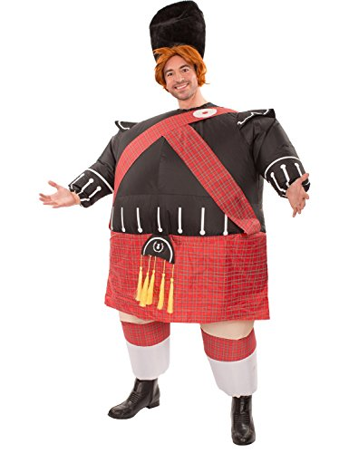 Fat Bastard Costumes (Mens Inflatable Fat Scot Bastard Tartan Novelty Funny Stag Halloween Costume)
