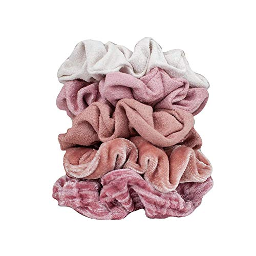 Hair Scrunchies for Women - 5 Pack - Velvet Scrunchies for Hair, Ponytails, Braids and Buns (Pastel/Blush/Mauve)