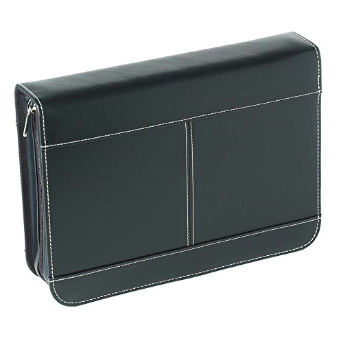 Black Zipper Pocket Reinforced Polyester Bible Cover Case, -