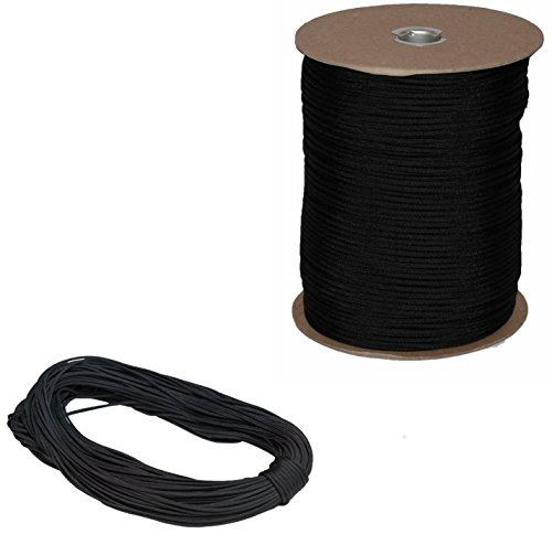 Marine Masters 5', 10', 20', 25', 35', 50', 60' 75' 90' 100', 250' 300' 500' Hanks & 1000' Spools of Parachute 550 Cord Type III 7 Strand Paracord Black (90 Feet) by Marine Masters (Image #1)