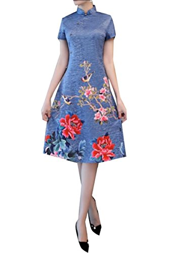 Blue Coolred Beauty Qipao Tunic line Fit Oriental Dress Trim Women A Printing qrxPTRqwC