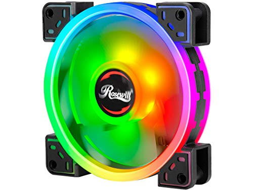 Rosewill 120mm True RGB LED Case Fan (1-Pack), Supreme Dual Ring Addressable RGB, Ultra Quiet Cooling with Long Life Rifle Bearing – RGBF-S12004 120mm RGB case Fan with True RGB Color