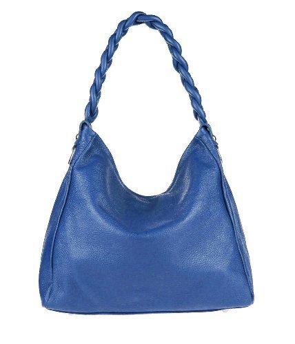 Made Italy - Bolso de tela de cuero para mujer Azul Real