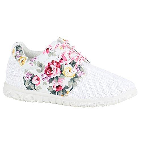 Damen Sportschuhe Übergrößen Trendfarben Runners Sneakers Laufschuhe Fitness Prints Flandell Weiss Pink Blumen