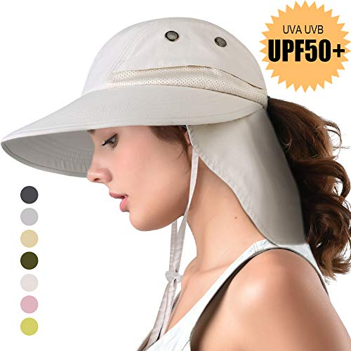 camptrace Safari Sun Hat Wide Brim Fishing Hat with Neck Flap for Women Ponytail Packable UPS UPF 50+ for Hiking Hunting Camping (Light Beige, One Size)