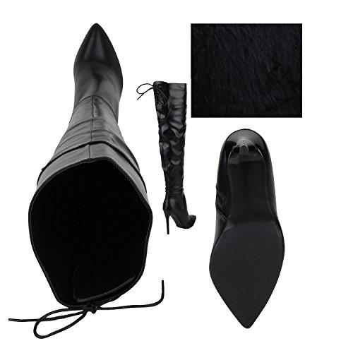 Stiefelparadies Damen Stiefel High Heels Schnallen Elegante Klassische Schuhe Flandell Schwarz Black Avelar