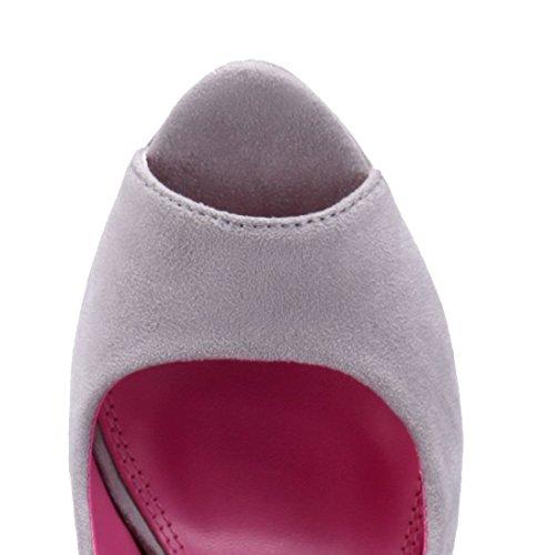 Schuhtempel24 Damen Schuhe Peeptoes Pumps Trichterabsatz 14 cm High Heels Grau
