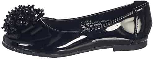 24abd9c9df8f Lito Girls Black Crystal Bead Bow Anna Occasion Dress Shoes Kids 11-4