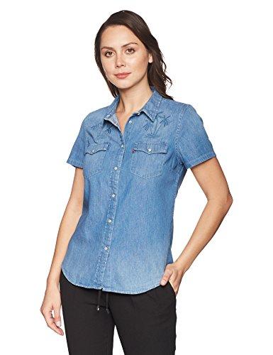 Dress Larissa - Levi's Women's Larissa Short Sleeve Western Shirt, Sandy Blue Small