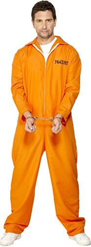 Smiffy's Men's Escaped Prisoner Costume with Boiler Suit, Orange, (Cop And Robber Halloween Costume)