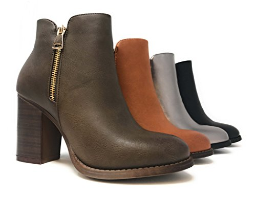 MVE SHOES Damen Kreuz-Schnalle Bootie Side Zip Hohe gestapelte Block Heel Ankle Booties Taupe