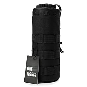 "OneTigris Drawstring Water Bottle Pouch for 32oz Carrier 9.4""x3.7"" (Black)"