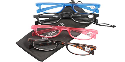 SOOLALA 4 Pairs Lightweight Designer Stylish Flat Top Rectangular Slim Reading Glasses, 4pcs, - Power Glasses Online