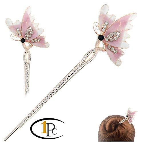 - FINGER LOVE Chinese Hair Decor Crystal Rhinestone Flower Hair Stick with Jewelly Box (Butterfly Purple)