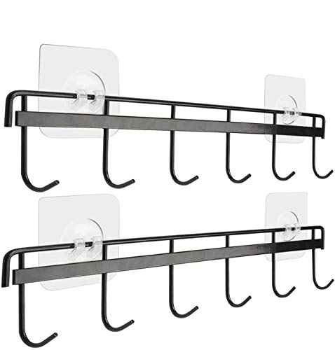 Yizhi Adhesive Wall Hooks Rack Kitchen Rail, Space Saving Utensil Holder No Drilling Wall Mounted Accessory Hanger with 6 Hooks for Kitchen Bathroom Bedroom Pack of 2 (White)