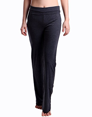 Loose Fit Sleep Pant (HDE Women's Fold Over Waist Yoga Lounge Pants Flare Leg Workout Leggings (Charcoal Gray, Small))