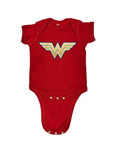 Wonder Woman Glitter cute Baby Bodysuit, Creeper, Humorous Baby Showers Gifts, Romper (18 Month, Red)