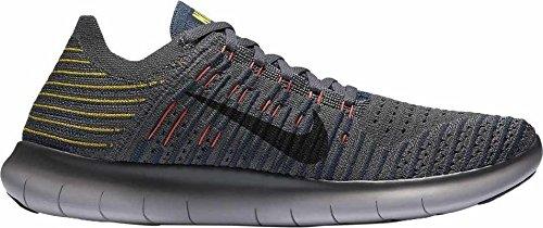 Nike Men's RN Flyknit Running Shoes (Grey/Yellow, 13)
