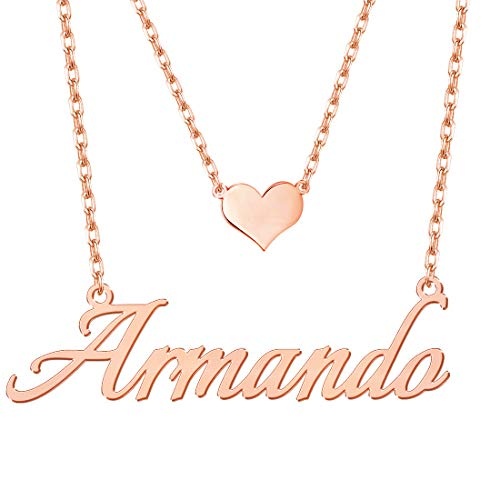 (Hybedora Custom Name Necklace, Handmade Personalized Name Necklace Pendant Jewelry Gift for Women (Heart-Rose)