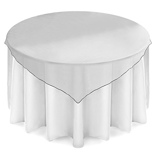 Silver Overlay - Lann's Linens Organza Wedding Table Overlay - Tablecloth Topper (72