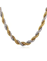 2 Tone Gold Jewelry Stailess Steel And 18K Gold Plated Rope Chain Necklace 22""