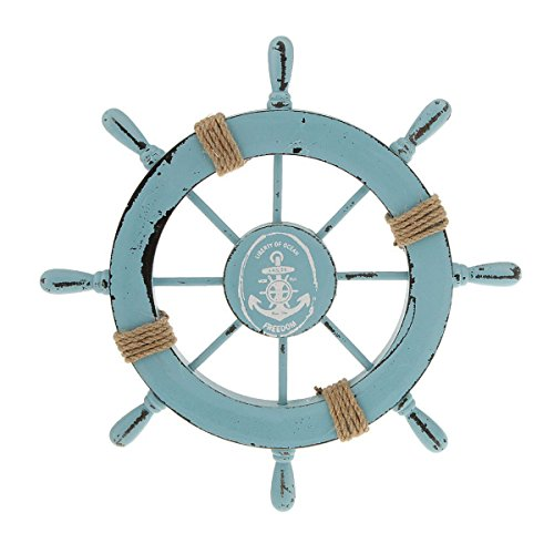 WINOMO Wooden Nautical Wall Decor Boat Rudder Home Decor Wall Pendant Decor (Sky Blue) (Anchor Outdoor Decor)