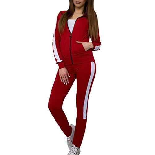 Fashion Women Casual Stripe Long Sleeve Zipper Pullover Sport Tops+Long Tracksuit Sweatshirt Hoodies for Pants Sleeves Set by iLUGU (Image #5)