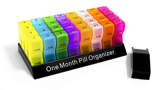 Organizer | Pill Box | Pill Case | Premium Quality & Variant Color | Free Pill Cutter | 31 Days AM/PM | Easy Snap-On and Close Lid | BPA Free | Recyclable | Large Compartments ()