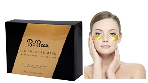 Anti Ageing-Gold Under Eye Mask - Helps Remove Dark Circles Under Eye Anti Ageing Hyaluronic Acid & Collagen Eye Pads to Reduce Wrinkles - Spa Quality Gold Eye Pads-15 Pairs