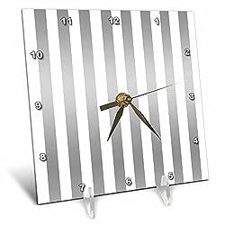 3dRose Anne Marie Baugh - Stripes - Silver and White Bold Stripes Pattern - 6x6 Desk Clock (dc_266692_1)