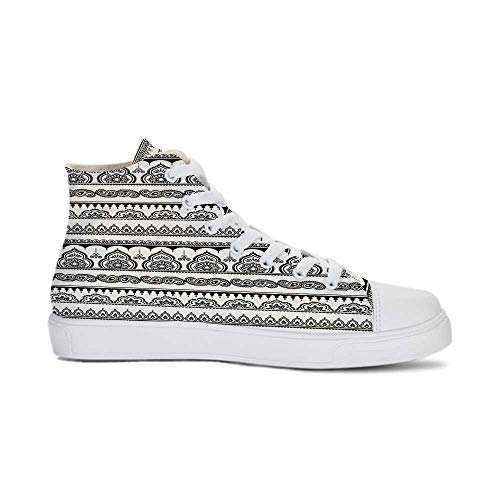 YOLIYANA Henna Durable High Top Canvas Shoes,Eastern Tattoo Design with Various Ornamental and Geometric Shapes Monochrome Style Decorative for Men,US 8.5