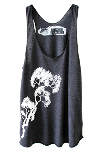 Blonde Peacock Women's Black and White Tree Branch Design Loose Fit Racerback Yoga Tank Top (X-Large, Black)