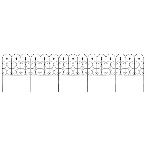 Best Choice Products 10-Foot x 32-inch 5-Panel Iron Foldable Interlocking Garden Edging Fence Panels for Lawn, Backyard, Landscaping with Locking Hooks, Black