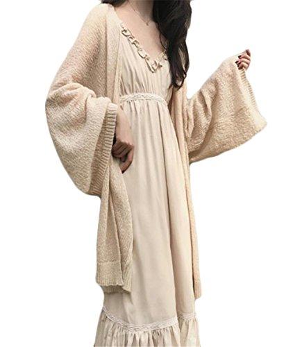 [ヤンーチ] レディース ロングカーディガン ニット 羽織り 長袖 ゆったり 春 夏 UVカット 無地 ふんわり