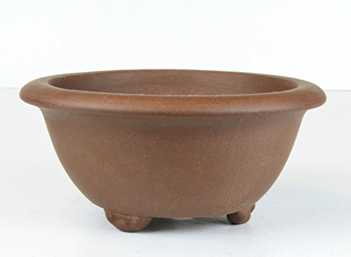 "Medium 7"" Unglazed Round Bowl Deep Yixing Zisha Bonsai Pot (PE29-2)"