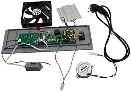 Summerwindy Interruptor de BotóN del Ventilador de Escape con Control de Temperatura del Motor Pantalla de Humedad Incubadora Controlador Suministros Mascotas Aves de ...