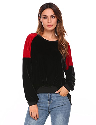 Soteer Womens Loose Long Sleeve High Low Color Block Velvet Shirt Tops Black - Velvet Black Color