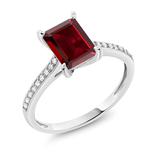 Garnet Ring White Gold Jewelry - 10K White Gold 2.08 Ct Emerald Cut Red Garnet White Diamond Engagement Ring (Size 6)