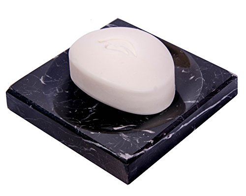 CraftsOfEgypt Black Marble Soap Dish - Polished and Shiny Marble Dish Holder - Beautifully Crafted Bathroom Accessory ()