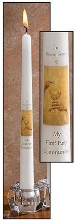 Eternal Salvation My First Holy Communion Catholic Service 10 Inch Wax Taper Candle with Decal Communion Candle