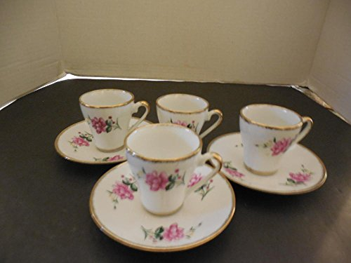Accent Three Roses - 3 Demi Cups Saucers with Pink Roses Gold Accents