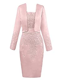 DINGZAN Vintage Sheath Mother of the Bride Dresses with Long Sleeves Jacket