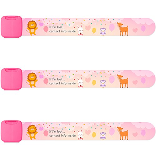 Identification Id Bracelet - Reusable Child Safety ID Bracelets, Waterproof Adjustable Travel ID Wristbands for Kids, One Size Fits All, Pink, Pack of 3